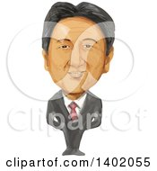 Watercolor Caricature Of The Primie Minister Of Japan Shinzo Abe