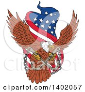 Clipart Of A Sketched Bald Eagle Flying With A Towing J Hook And An American Flag Banner Royalty Free Vector Illustration