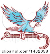 Clipart Of A Retro Blue Bald Eagle Flying With A Towing J Hook Royalty Free Vector Illustration