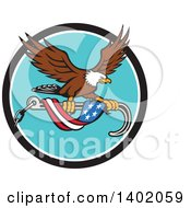 Clipart Of A Retro Bald Eagle Flying With A Towing J Hook And An American Flag Banner Royalty Free Vector Illustration