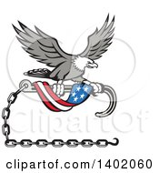 Clipart Of A Retro Grayscale Bald Eagle Flying With A Towing J Hook And An American Flag Banner Royalty Free Vector Illustration