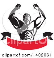 Clipart Of A Retro Black And White Strong Male Bodybuilder Holding His Arms Up And Flexing Over A Red Banner Royalty Free Vector Illustration