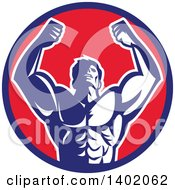 Clipart Of A Retro Strong Male Bodybuilder Holding His Arms Up And Flexing In A Blue Red And White Circle Royalty Free Vector Illustration