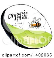 Clipart Of A Sketched Happy Bee Flying With Organic Milk 1 Litre Text Royalty Free Vector Illustration