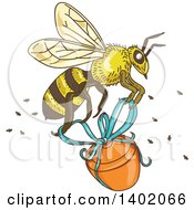 Clipart Of A Sketched Worker Bee Flying With A Honey Jar Royalty Free Vector Illustration