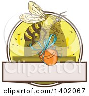 Clipart Of A Sketched Worker Bee Flying With A Honey Jar Over A Circle With A Hive And Text Space Royalty Free Vector Illustration