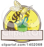 Clipart Of A Clipart Of A Sketched Worker Bee Flying With A Round Gift Box Over A Circle With A Hive And Blank Space Royalty Free Vector Illustration  Royalty Free Vector Illustration
