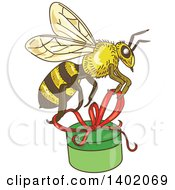 Clipart Of A Sketched Worker Bee Flying With A Round Gift Box Royalty Free Vector Illustration