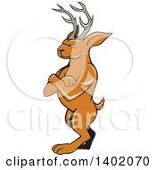 Clipart Of A Cartoon Jackalope Standing With Folded Arms Royalty Free Vector Illustration by patrimonio