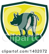 Clipart Of A Retro Woodcut Rear View Of A Pig With A Curly Tail In A Shield Royalty Free Vector Illustration