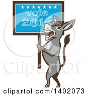 Clipart Of A Retro Politician Democratic Donkey Holding A Vote 2016 Sign Royalty Free Vector Illustration