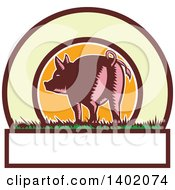 Clipart Of A Retro Woodcut Rear View Of A Pig With A Curly Tail In A Circle With Text Space Royalty Free Vector Illustration
