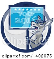 Clipart Of A Retro Politician Democratic Donkey Holding A Vote 2016 Sign In A Blue White And Gray Circle Royalty Free Vector Illustration by patrimonio