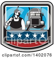 Clipart Of A Retro Male Pressure Washer Worker Standing With A Wand Over His Shoulder By A Big Rig Truck In A Crest Royalty Free Vector Illustration
