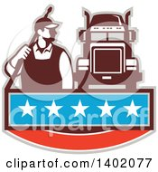 Clipart Of A Retro Male Pressure Washer Worker Standing With A Wand Over His Shoulder By A Big Rig Truck Over A Banner With Stars Royalty Free Vector Illustration
