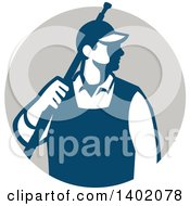 Clipart Of A Retro Male Pressure Washer Worker Standing With A Wand Over His Shoulder In A Gray Circle Royalty Free Vector Illustration
