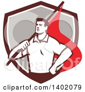 Clipart Of A Retro Union Worker Man Holding A Flag Over His Shoulder In A Brown White And Gray Shield Royalty Free Vector Illustration by patrimonio