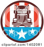 Clipart Of A Retro Big Rig Truck In An American Circle Royalty Free Vector Illustration