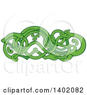 Clipart Of A Retro Green Urnes Snake With An Extended Stomach Royalty Free Vector Illustration by patrimonio