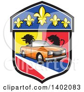 Clipart Of A Retro Orange Cabriolet Convertible Coupe Car French Coat Of Arms Crest Royalty Free Vector Illustration
