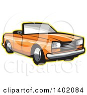 Retro Orange Cabriolet Convertible Coupe Car With A Yellow Outline