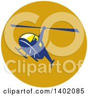 Clipart Of A Retro Blue Helicopter Flying In A Circle Royalty Free Vector Illustration by patrimonio