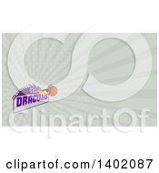 Clipart Of A Retro Purple Fire Breathing Dragon Holding A Basketball Over Text And Rays Background Or Business Card Design Royalty Free Illustration