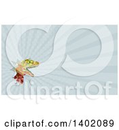 Clipart Of A Retro Low Poly Geometric Lizard Rator Or Tyrannosaurus Rex Breaking Through A Wall And Blue Rays Background Or Business Card Design Royalty Free Illustration