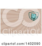 Clipart Of A Retro Blue Guard Dog And Rays Background Or Business Card Design Royalty Free Illustration by patrimonio