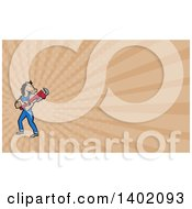Clipart Of A Cartoon Muscular Horse Man Plumber Holding A Monkey Wrench And Tan Rays Background Or Business Card Design Royalty Free Illustration