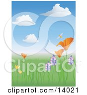 Poster, Art Print Of Happy Bumble Honey Bee Buzzing Above A California Poppy In A Meadow Of Wildflowers In The Spring