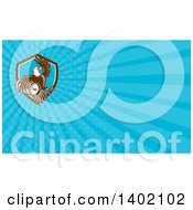 Clipart Of A Retro Bald Eagle Holding A Beer Keg And Blue Rays Background Or Business Card Design Royalty Free Illustration