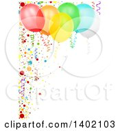 Clipart Of A Vertical Background Of Colorful Party Balloons With Confetti Royalty Free Vector Illustration