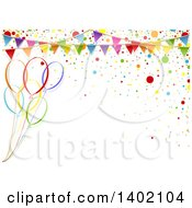 Clipart Of A Horizontal Background Of Colorful Party Balloons With Confetti And A Bunting Royalty Free Vector Illustration