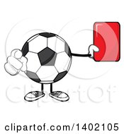 Cartoon Faceless Soccer Ball Mascot Character Pointing And Holding A Red Card