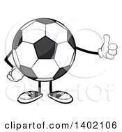 Clipart Of A Cartoon Faceless Soccer Ball Mascot Character Giving A Thumb Up Royalty Free Vector Illustration by Hit Toon