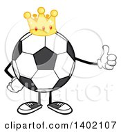Clipart Of A Cartoon Faceless Soccer Ball Mascot Character Wearing A Crown And Giving A Thumb Up Royalty Free Vector Illustration by Hit Toon