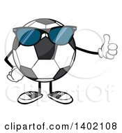 Clipart Of A Cartoon Faceless Soccer Ball Mascot Character Wearing Sunglasses And Giving A Thumb Up Royalty Free Vector Illustration by Hit Toon