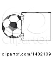 Clipart Of A Cartoon Faceless Soccer Ball Mascot Character Looking Around A Blank Sign Royalty Free Vector Illustration by Hit Toon