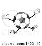 Clipart Of A Cartoon Faceless Soccer Ball Mascot Character Jumping Royalty Free Vector Illustration by Hit Toon