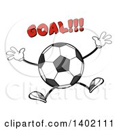 Clipart Of A Cartoon Faceless Soccer Ball Mascot Character Jumping Under Goal Text Royalty Free Vector Illustration by Hit Toon