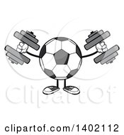 Clipart Of A Cartoon Faceless Soccer Ball Mascot Character Working Out With Dumbbells Royalty Free Vector Illustration by Hit Toon