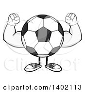 Clipart Of A Cartoon Faceless Soccer Ball Mascot Character Flexing His Muscles Royalty Free Vector Illustration by Hit Toon