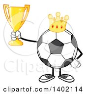 Clipart Of A Cartoon Faceless Soccer Ball Mascot Character Wearing A Crown And Holding A Trophy Royalty Free Vector Illustration by Hit Toon