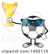 Clipart Of A Cartoon Faceless Soccer Ball Mascot Character Wearing Sunglasses And Holding A Trophy Royalty Free Vector Illustration by Hit Toon