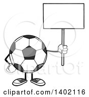 Clipart Of A Cartoon Faceless Soccer Ball Mascot Character Holding Up A Blank Sign Royalty Free Vector Illustration by Hit Toon