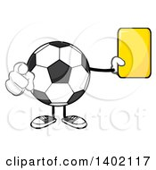 Cartoon Faceless Soccer Ball Mascot Character Referee Pointing And Holding A Yellow Card