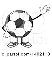Clipart Of A Cartoon Faceless Soccer Ball Mascot Character Waving Royalty Free Vector Illustration