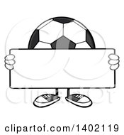 Clipart Of A Cartoon Faceless Soccer Ball Mascot Character Holding A Blank Sign Royalty Free Vector Illustration by Hit Toon