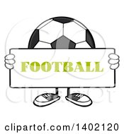 Clipart Of A Cartoon Faceless Soccer Ball Mascot Character Holding A Football Sign Royalty Free Vector Illustration by Hit Toon